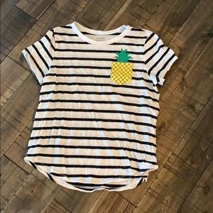 Old Navy striped pineapple pocket tee